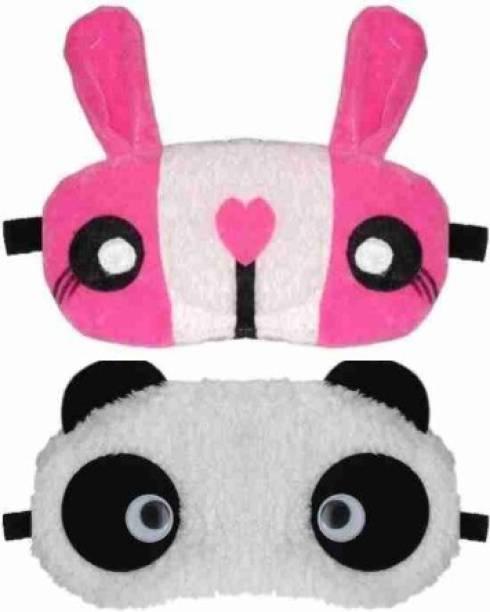 PRASJAL Cute panda blink eye & Bunny eye mask Blind Sleeping Eye Mask Slip Night Sleep Eye White and Pink Super Soft & Smooth Travel Masks for Men Women Girls Boys Kids(Panda blink & bunny eye mask) pack of 2(2)
