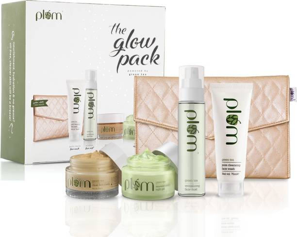 Plum Green Tea Glow Pack Gift Set | At-Home Facial Kit for Oily Skin