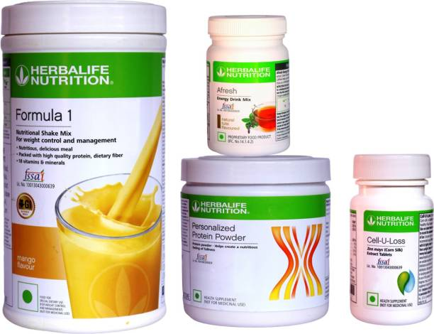 HERBALIFE Extraordinary Weight Loss Combo- Formula 1, Protein , Afresh & Cell U Loss Tablet Nutrition Drink