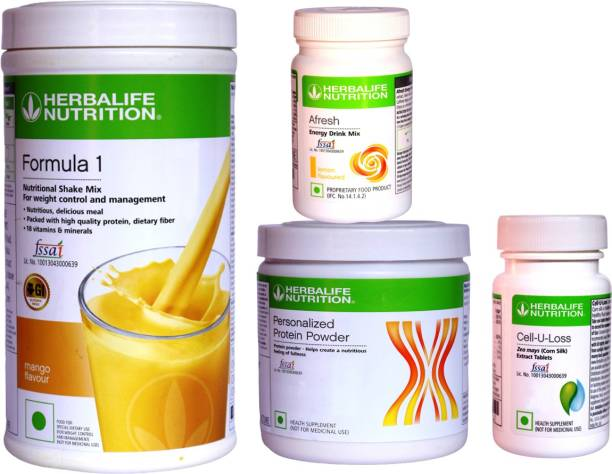 HERBALIFE EXTRAORDINARY WEIGHT LOSS COMBO - FORMULA-1 , PPP, AFRESH LEMON+CELL-U-LOSE tablet Energy Drink