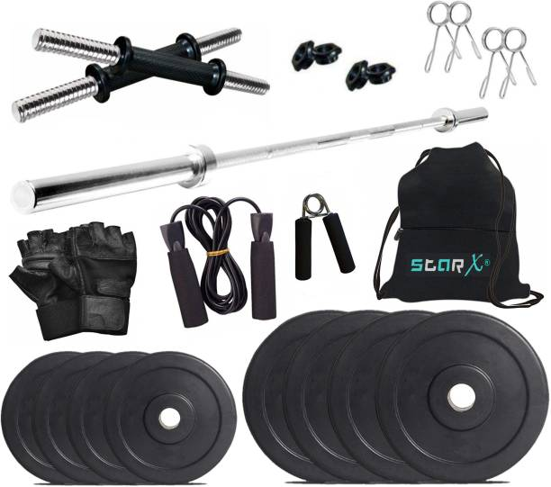 Star X 20 kg Rubber weight Plates with 5ft Straight Rod and Accessories Home Gym Combo