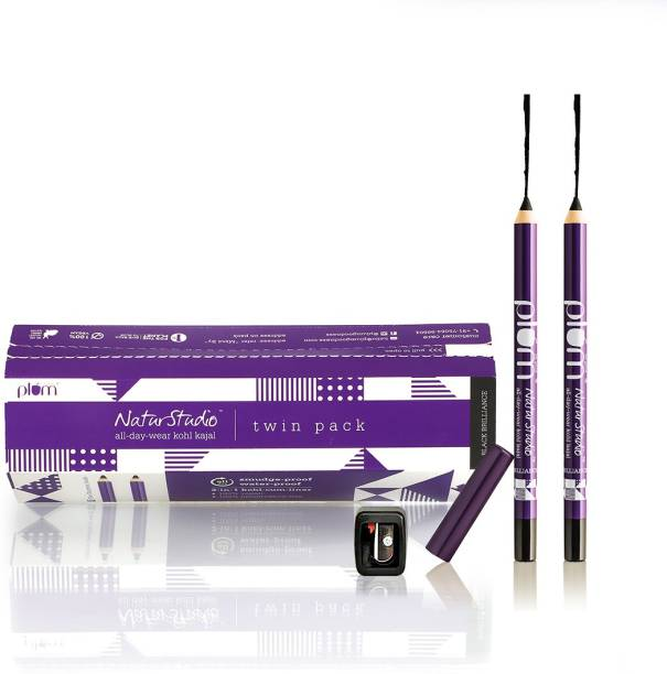 Plum NaturStudio Kajal Duo Gift Set | Smudge-Proof, Ophthalmologically Tested