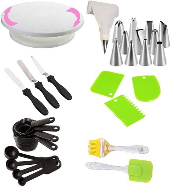 Denish ake combo set of 6 Cake Decorating Kits 12 Piece Cake Decorating nozzles set with Silicone Icing Bag and Coupler, Cake Making Revolving Turn Table, 3-in-1 Multi-Function Stainless Steel Cake Icing Spatula Knife Set and Plastic Dough Bench Scraper Cake Cutter, and Silicone Basting Brush and spatula Palette Knife Combo, and 8 pcs Measuring Cup, Multicolor Kitchen Tool Set (Multicolor) Kitchen Tool Set Multicolor Kitchen Tool Set (Multicolor) Multicolor Kitchen Tool Set