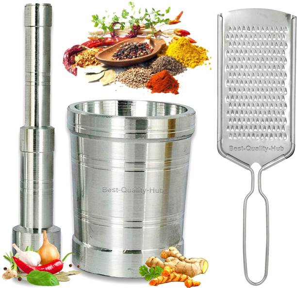 Best Quality Hub Okhli Musal/Mortar/Masher and Pestle Set And Free Steel Cheese Ginger Carrot/Vegetables and Coconut Grater Okhli Musal/Mortar/Masher and Pestle Set And Free Steel Cheese Ginger Carrot/Vegetables and Coconut Grater Silver Kitchen Tool Set