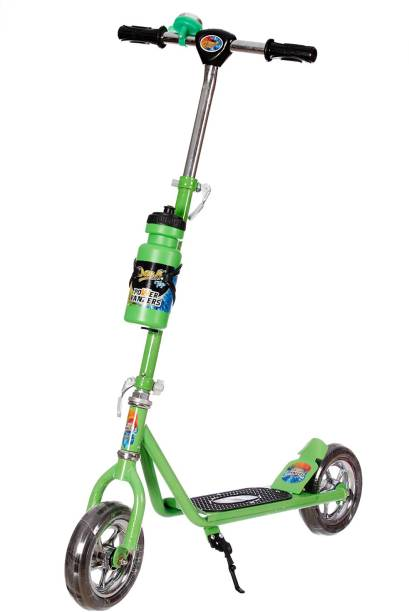 Miss & Chief Power Ranger 2 Wheeler Scooter for Kids with Sipper Stand n Bell (Height Adjustable to 90 cm Upto 10 Years for Kids)-Green