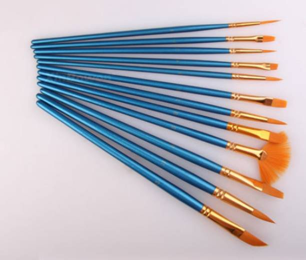 SYGA Set Of 12 Blue Nylon Soft Bristles Paint Brushes ideal for Acrylics,Watercolor & Oil