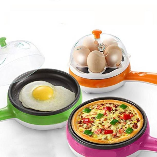 MBK IMPEX Multi functional Electronic 2 in 1 Single Layer Egg Boiler Steamer Cooker With Handle and Capacity of 7 Eggs | Egg Boiling Non-Stick Steamer and Egg Frying Pan Machine (Multi) Egg Cooker