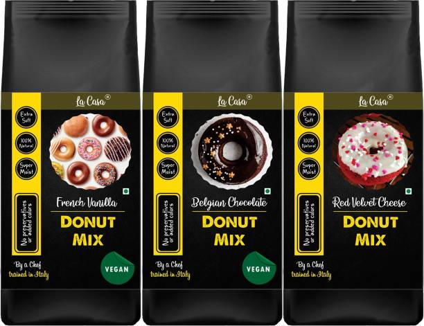 La Casa 3 Flavors Donut Mix   Vegan   Can Bake or Fry   Combo Pack of 3   900 g
