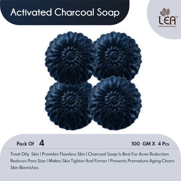 LEA PROFESSIONAL ACTIVATED CHARCOAL Natural Hand Made Soap - 100gm (Pack of 4)