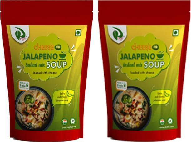 Dryfii Instant Cheese Jalapeno Soup Premix Pack of 2 (100 X2) With Natural Vegetables, No Added Preservatives