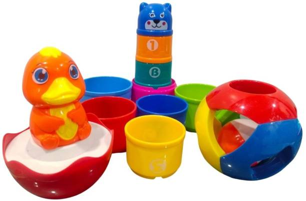 KiddyKin Education toy set of 1 Happy rattle ball, 1 tumbler yellow duck and 9 piece stakced cup with colors and numbers