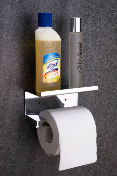 Whizzo 304 Stainless Steel Toilet Roll Tissue Paper Holder for Bathroom with Mobile Stand Steel Toilet Paper Holder