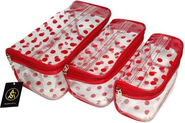 Rasafa Pack of 3 Printed Bridal Organizer, Cosmetic Box, Makeup Kit, Storage Case Vanity Box