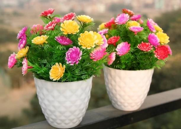 shanol Artificial multicolor flowers with green grass, multicolor sunflower plant, wild plant, bonsai tree for home decoration office table decoration (length 18 cm, colour multicolour ) pack of 2 Multicolor Sunflower Artificial Flower  with Pot