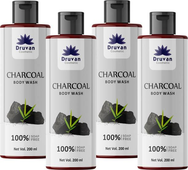 Druvan Cosmetic Activated Charcoal Body Wash - 200ml (Pack of 4)