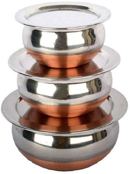 RBGIIT Perfect Copper Handi Set for Everyday Use Whether you want to cook a delicious serving of your favourite sabzi or heat leftover curries from the previous day, the 3 Piecs copper handi set, Prabhu Chetty, Curved Copper Plate at Bottom, Best Quality Stainless Steel Copper Bottom Handi Pot Set, Brown & Steel, 3 Pic Handi Copper Vegetable Bowl ,Cooking Dinner Table Serving Biryani Pot Handi Kadhai , Panikarilikka Steel Handi 3 Pices Sets Handi Stainless Steel Serving Bowl