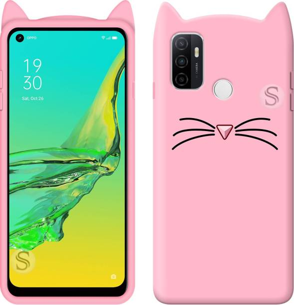Strivex Back Cover for Oppo A53 - Ear Kitty Case | 3D Cute Mustache Kitty Doll | Soft Girls Cat Back Cover