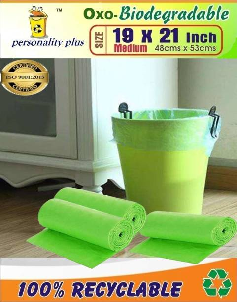 Personality plus Biodegradable Green Garbage Bags 19*21 inches ( pack of 3, 90 pieces ) Medium 15 L Garbage Bag