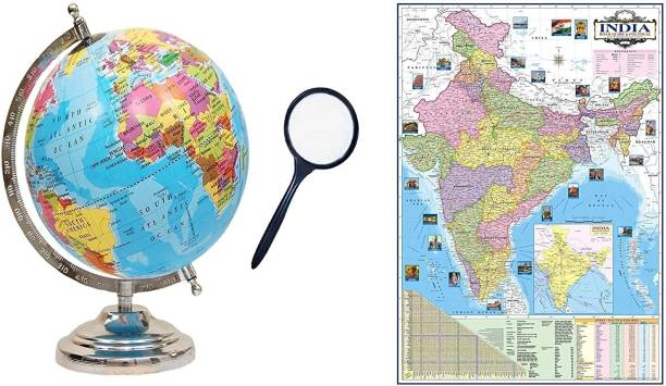 GeoKraft COMBO (3 IN 1) 8 INCH Laminated Globe Chrome Arc Base with MAGNIFYING GLASS and INDIA POLITICAL WALL CHART Desk and Table top Political World Globe
