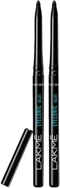 BTN TRADERS LAKME Eyeconic Kajal, Deep Black, lakme1 set of 2 pencil lakme1