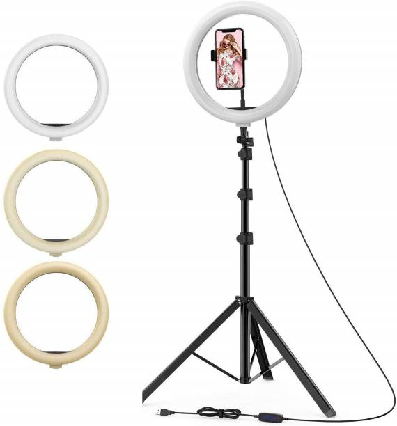 EWELL 10 Inches Big LED Ring Light Compatible with Camera, DSLR, Smartphone, Flash etc for Youtube, Instagram Reels, Make Up & Vlogging with 7 Feet Long Foldable and Lightweight Tripod Stand-C Ring Flash