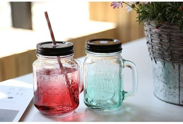 Avastro 2 PCS Transparent Glass Rooster Mason Cup Large Capacity Straw Beverage Juice Bottle Transparent Water Bottles Storage Tank Glass Mason Jar