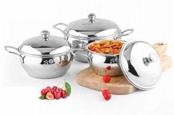 GaxQuly Kitchen Premium Mirror Finish Stainless Steel Set of 3 Tomato Handi with Good Silver Design, Pot and Pan Set with lid, Kitchen Set Combo, Tapeli/Serving Set Handi 2 L, 1.5 L, 0.9 L with Lid