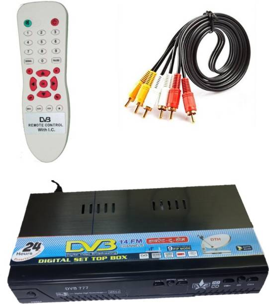 KL-TECH DD Free Dish Life time Free Set Top Box Receiver Free to Air for (DTH-MPEG2) with REMOT & AV Lead Media Streaming Device