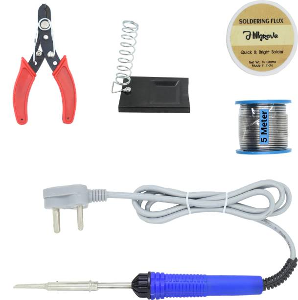 Hillgrove Electronic Repairing 5in1 Mobile Soldering Iron Equipment Tool Machine Combo Kit Set with Flux Paste and Wire 25 W Simple