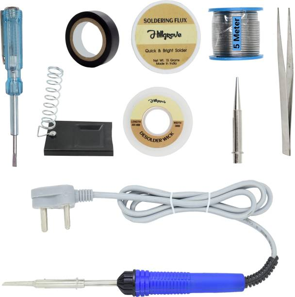 Hillgrove Electronic Repairing 9in1 Mobile Soldering Iron Equipment Tool Machine Combo Kit Set with Flux Paste and Wire 25 W Simple