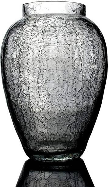 DESHILP OVERSEAS Deshilp Overseas Home Decor Crackle Glass Clear Flower Pot Flower vase for Home Decoration, Flower Pot | Pack of 1 Glass Vase