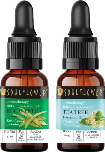 Soulflower Essential Oil Eucalyptus (Nilgiri Oil) 15ml, Tea Tree 15ml, 100% Premium & Pure, Natural & Undiluted, For Cold And Cough, Steam Inhaler, Hair Growth - Camphor Family Premium Oil, Anti Dandruff
