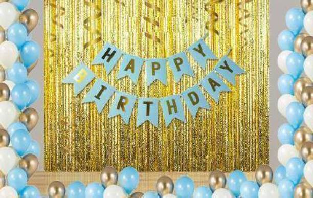 RHYTHM BALLOONS Solid RHYTHM BALLOON Solid HAPPY BIRTHDAY LETTER BLUE BANNER SET +PACK OF 30 HD METALLIC BALLOONS [BLUE WHITE GOLD +2 GOLDEN CURTAINS [PACK OF 33] Balloon (Multicolor, Pack of 33) Balloon Bouquet