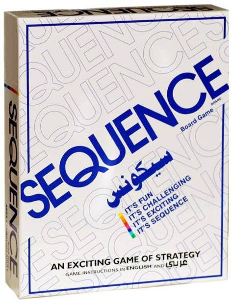 SKEDIZ Sequence Board Game Challenging Card Game for Ages 7 & Above, Hard Board,Chips and Card (Sequence Game) Educational Board Games Board Game