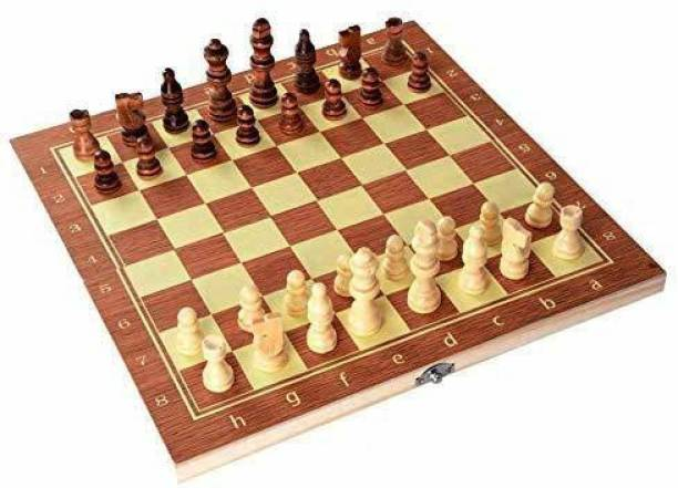 """Lacry 13""""X 13"""" Morex Wooden Folding Chess Set,Handmade Game Board Interior for Storage for Adult Kids Beginner Chess Board Board Game Accessories Board Game"""