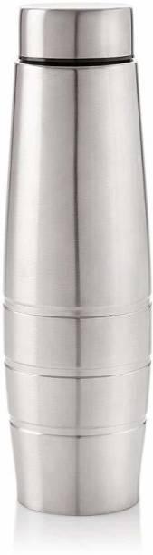 THEWANTS Fridge Curve Water Bottle 1000 ml, Silver Chrome Color - BPA Free 1000 ml Flask