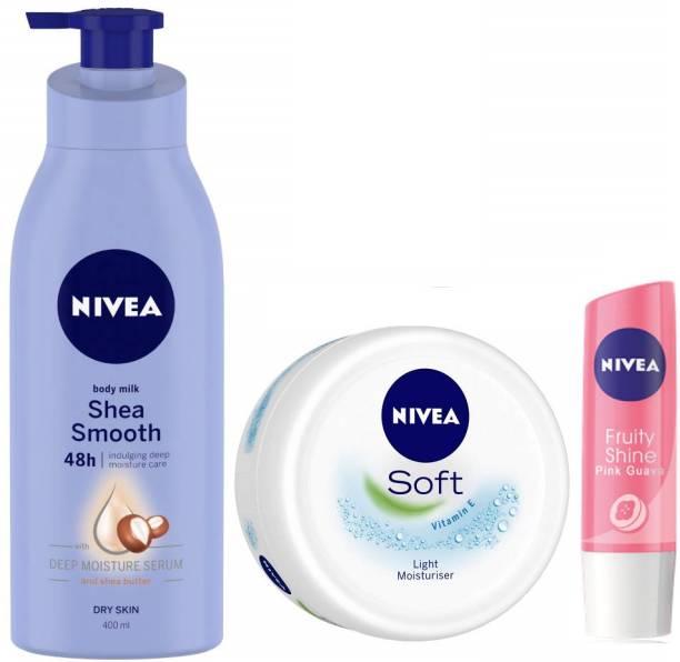 NIVEA Shea smooth BodyLotion 400 ml, Soft Light Moisturizer 50 ml and Pink Guava Lip Balm