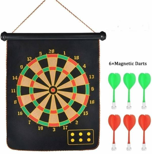 HENCO Wall Hanging Roll-up Magnetic Dart Board with 6 Safety Darts Needles Set Soft Tip Dart