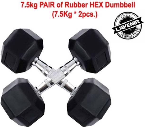 L'AVENIR FITNESS (7.5kg * 2pcs = 15kg) Professional HEXAGONAL Rubber coated Fixed Weight Dumbbell