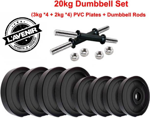 L'AVENIR FITNESS 20kg (4*3kg + 4*2kg) PVC Plates + 2 Dumbbell Rods Adjustable Dumbbell