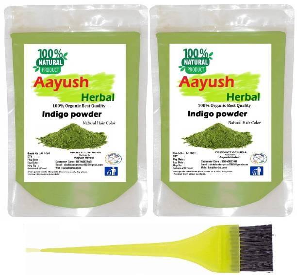 Aayush herbal Indigo Powder for Hair - Natural Black Dye, Anti-Dandruff & Hair Growth 100gX2 PACK OF 2