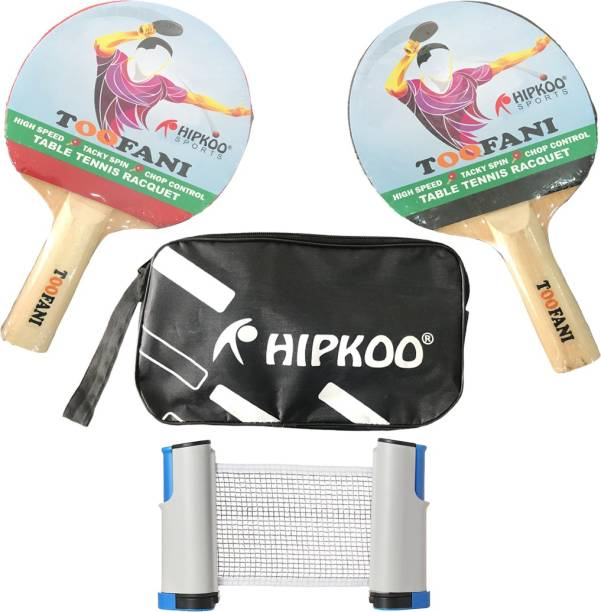 Hipkoo Sports 1 Star Toofani Table Tennis Bat (Pack Of 2) With Cover & Net Table Tennis Kit