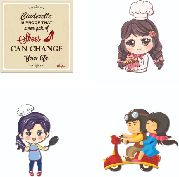 Bhai Please Baker, Female (Chef), Couple Riding and Cinderella Change Life Wooden Fridge Magnet Fridge Magnet Pack of 4