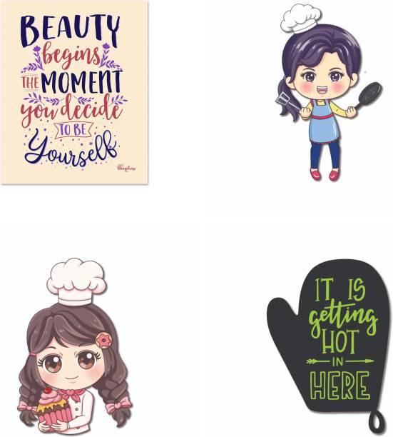 Bhai Please Chef (Female), Oven Gloves, Baker and Beauty Begins Wooden Fridge Magnet Fridge Magnet Pack of 4