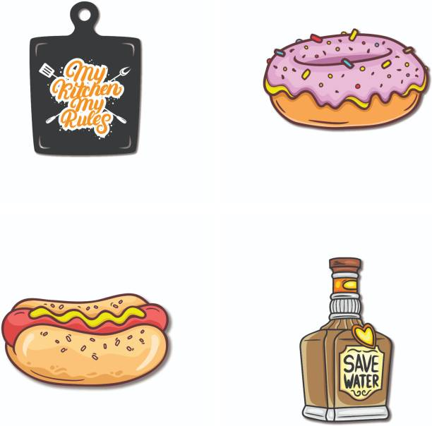 Bhai Please Save Water, Subway, Donut and My Kitchen My Rules Wooden Fridge Magnet Fridge Magnet Pack of 4