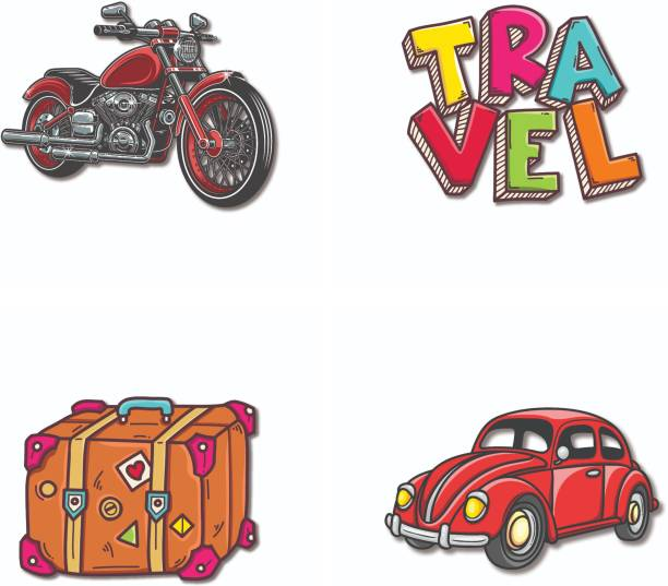 Bhai Please Bike, Beetle Car, Travel and Travel Suitcase Wooden Fridge Magnet Fridge Magnet Pack of 4