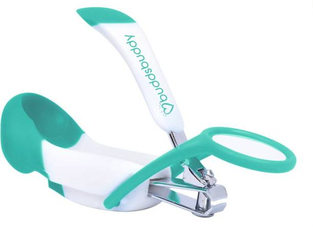 Buddsbuddy Premium Baby Nail Clipper with Magnifying Glass, Green,