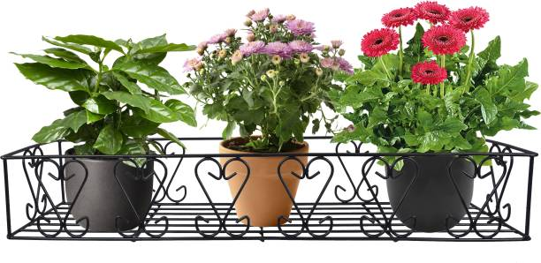 D&V ENGINEERING Metal Railings Pot Stand/Flower Plant Display Stand for Multiple Plants Garden Balcony (Fixed Hanger) Plant Container Set