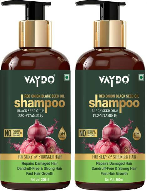 vaydo Red Onion Black Seed Oil Shampoo With Red Onion Seed Oil Extract, Black Seed Oil & Pro-Vitamin B5 - No Parabens, Sulphates, Silicones, Color & Peg, (600 ml)