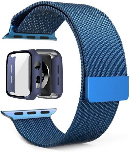 JIGO PLUS Combo Of Stanless Steel Mlanese Strap Blue 44MM + Blue watch case guard (44MM) wth Magnetc lock strap for Watch 44MM, Compatble wth Watch Seres 6/5/4/3/2/1,(BLUE, Sze 44MM) Smart Watch Strap